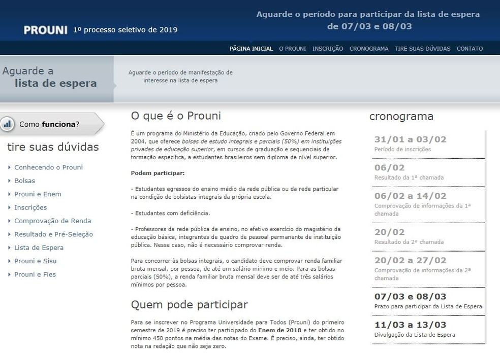 9385a72fb Prouni: quem quiser participar da lista de espera deve manifestar ...