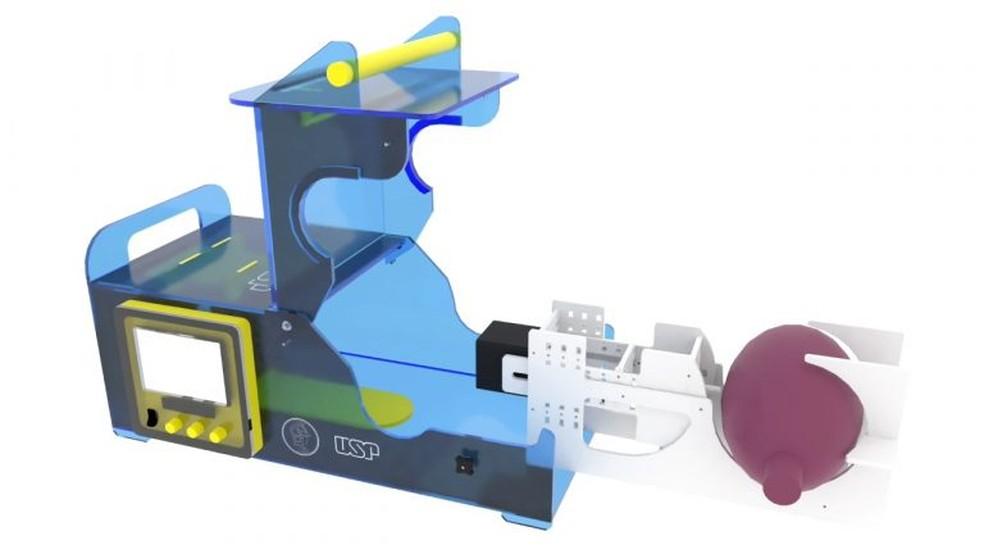 Respirador econômico criado por engenheiros da USP pode ajudar no tratamento de pacientes com Covid-19 — Foto: Reprodução/Poli USP