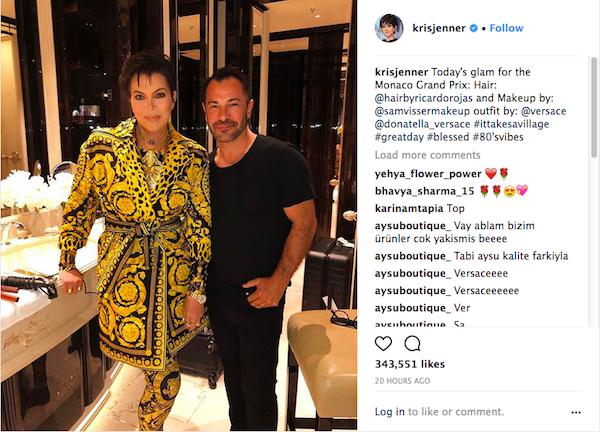 O post de Kris Jenner com a foto na qual ela aparece sem uma das pernas (Foto: Instagram)