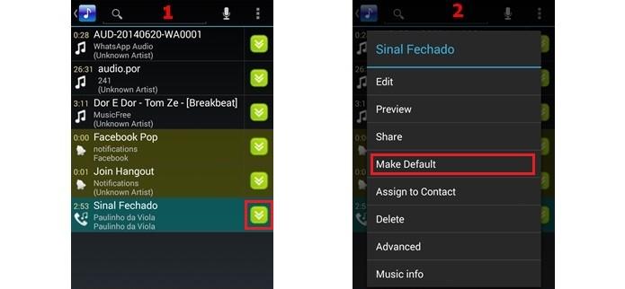 Etapas para definição da música como toque padrão do celular Android (Foto: Reprodução/Raquel Freire)