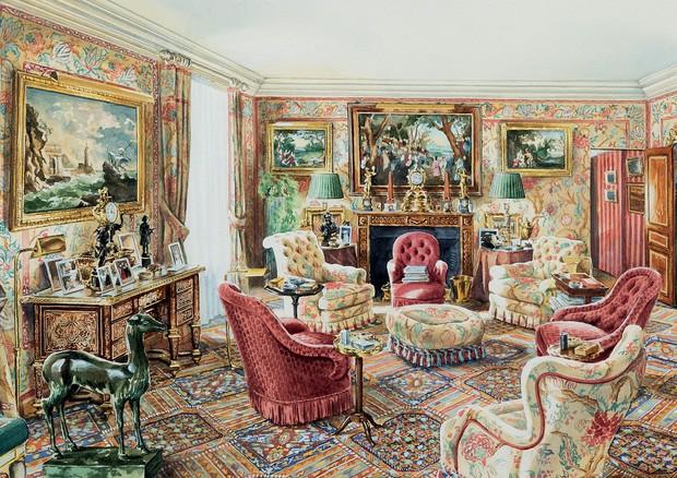 Croqui inédito do livro, que mostra a sala de estar do Hôtel de Feuquières (Foto: Courtesy Of Eva Samuel, Ubodh Gupta e Divulgação)
