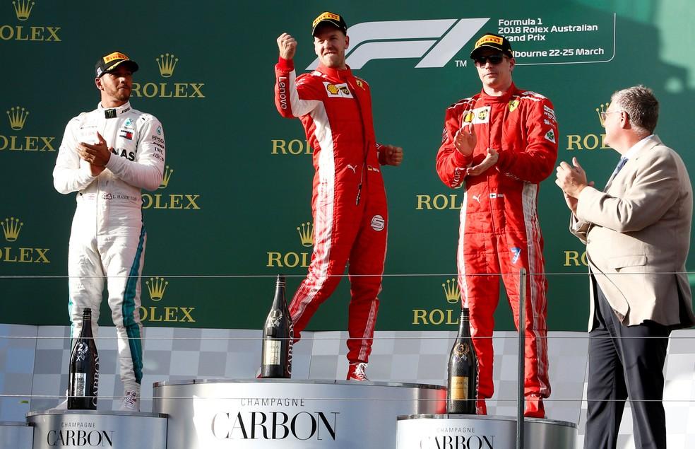 Vettel, Hamilton e Raikkonen no pódio da Austrália (Foto: REUTERS/Brandon Malone)