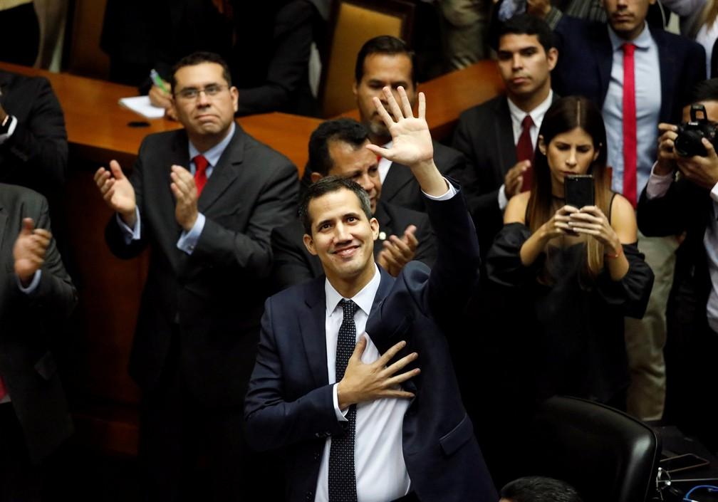 O novo presidente da Assembléia Nacional da Venezuela, Juan Guaidó, durante cerimônia de posse, em Caracas  — Foto: Manaure Quintero/Reuters