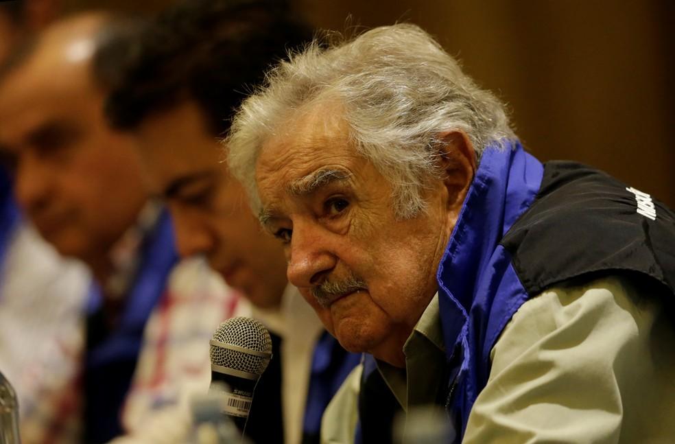 Ex-presidente uruguaio, Pepe Mujica, durante reunião no Equador, em imagem de arquivo. — Foto: Reuters/Henry Romero