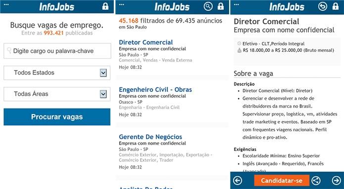 InfoJobs.com.br é um site com vagas de empregos disponível para Android e Windows Phone (Foto: Divulgação/Windows Phone Store)