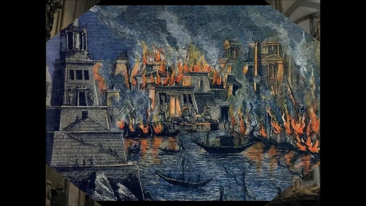 Pintura que retrata o incêndio da Biblioteca de Alexandria (Foto: Reprodução)