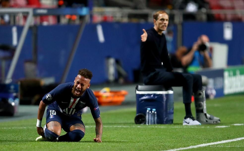 Neymar teve dificuldades na final da Champions contra o Bayern — Foto: UEFA / Getty Images