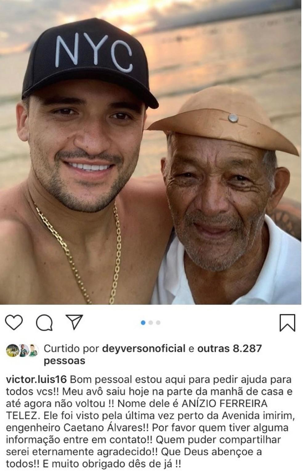 Victor Luis, do Palmeiras, pede ajuda para encontrar avô desaparecido — Foto: Reprodução / Instagram