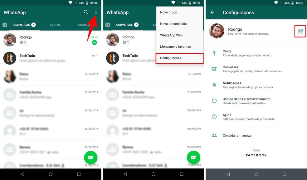 Acessando as configurações do WhatsApp para visualizar seu QR Code — Foto: Reprodução/Rodrigo Fernandes