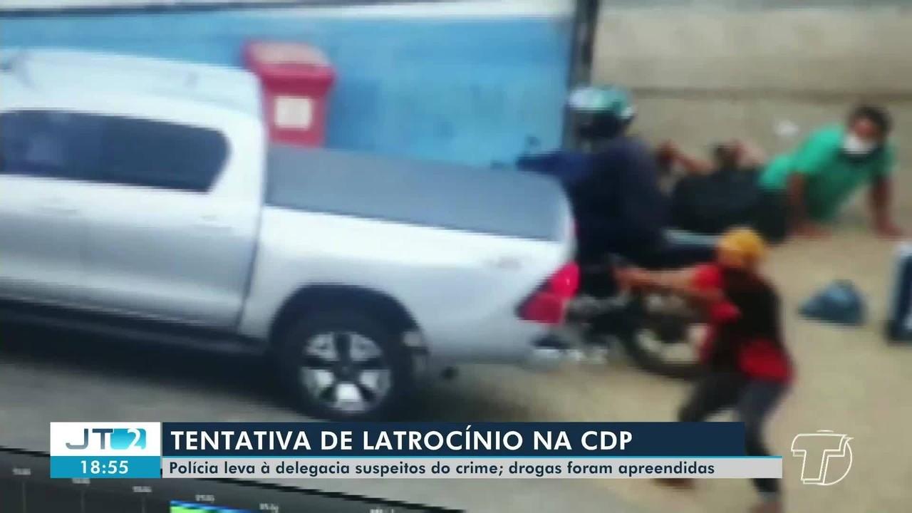 Dupla é conduzida à delegacia suspeita de envolvimento em assalto em Santarém