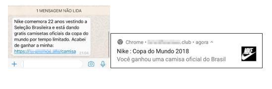 Vírus propagado no Whatsapp promete camisa da seleção brasileira a usuários (Foto: Divulgação/Kaspersky)