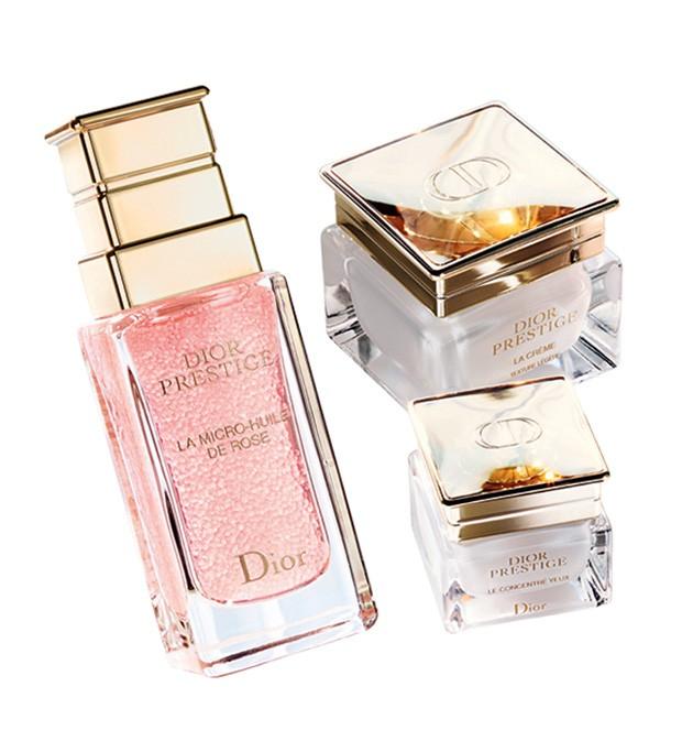 Produtos da nova linha Prestige: sérum La Micro-Huile de Rose (R$ 989), o La Crème (R$ 1905) e o Le Concentré Yeux (R$ 925) (Foto: Divulgação)