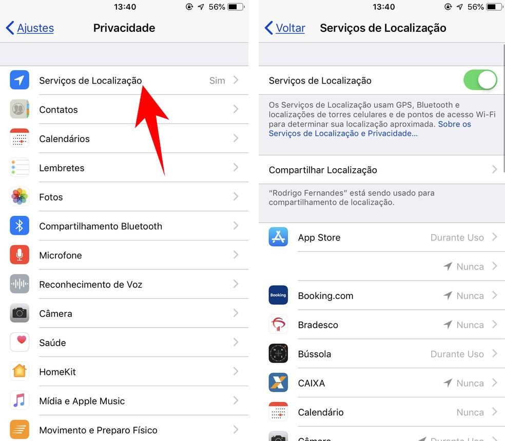 Desative o acesso à sua localização em aplicativos do iPhone — Foto: Reprodução/Rodrigo Fernandes