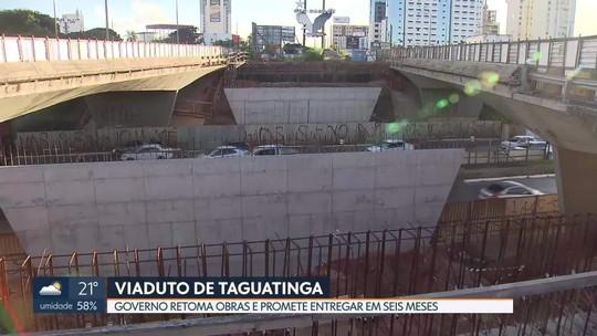 Depois de 14 meses, o governo retoma as obras do viaduto de Taguatinga