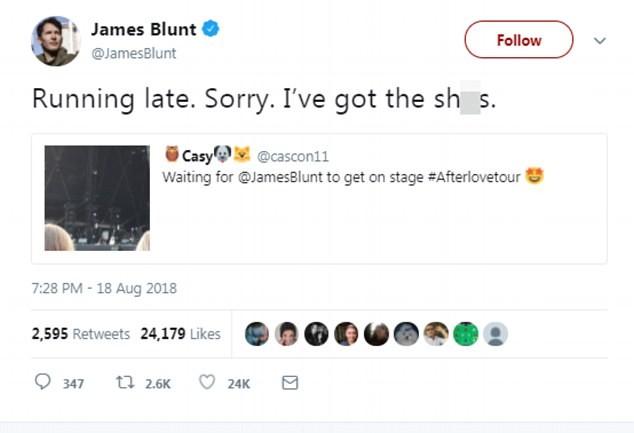 O cantor James Blunt revelando sua caganeira para justificar seu atraso em um show (Foto: Twitter)