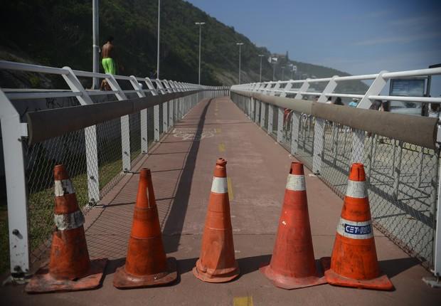 Parte da ciclovia Tim Maia está interditada (Foto: Fernando Frazão/ Agência Brasil)