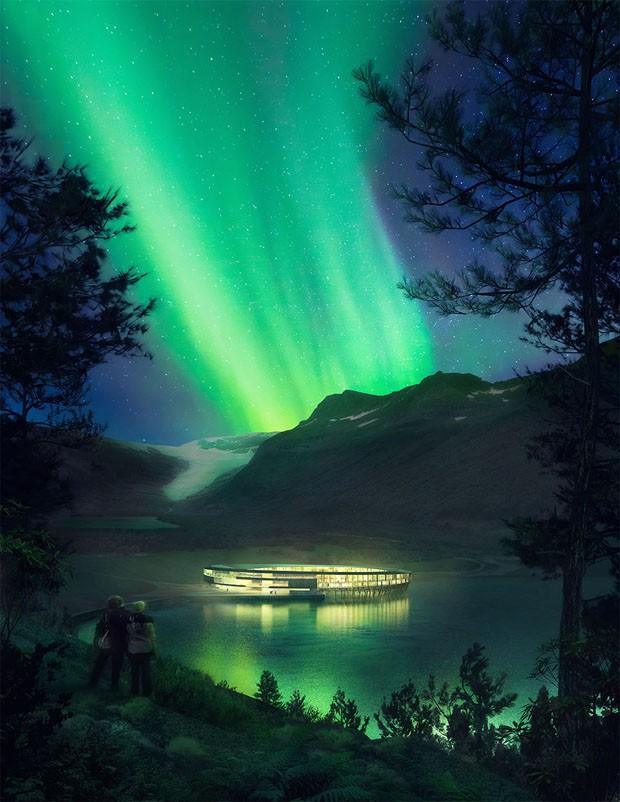 Hotel sustentável é construído aos pés de geleira na Noruega