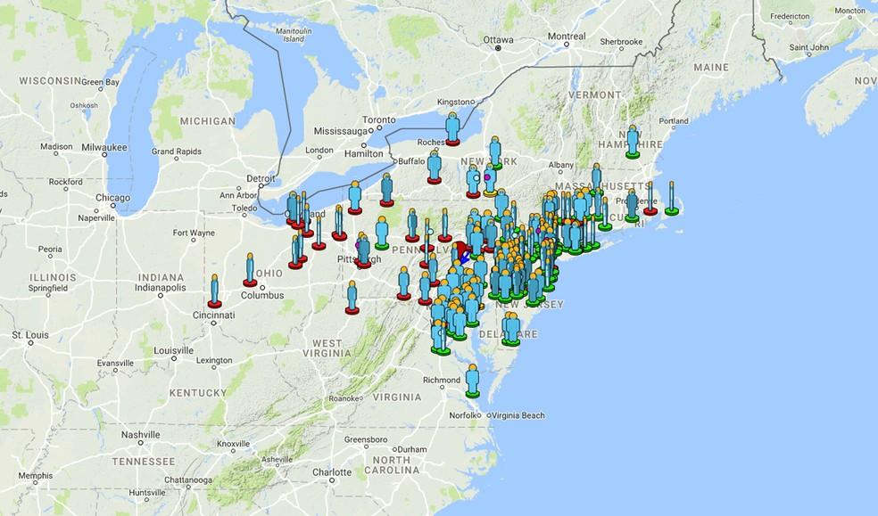 Mapa da Sociedade Americana de Meteoros mostram de onde vieram os relatos nos EUA (Foto:  AMS/Reprodução)