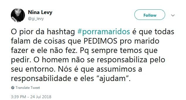 #porramaridos levantou debates no Twitter sobre o comportamento do homem (Foto: Reprodução / Twitter)