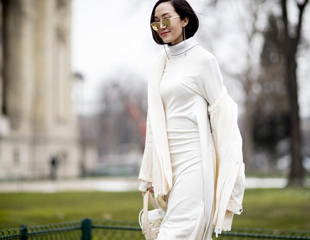 O look all white foi um queridinho do street style internacional (Foto: Imaxtree)