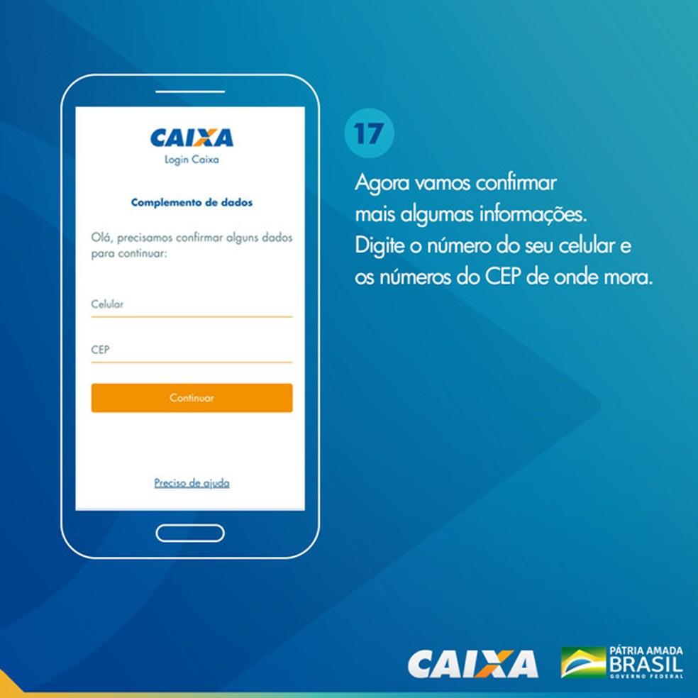 Tela 17 para pedir abertura da poupança social digital — Foto: Divulgação Caixa