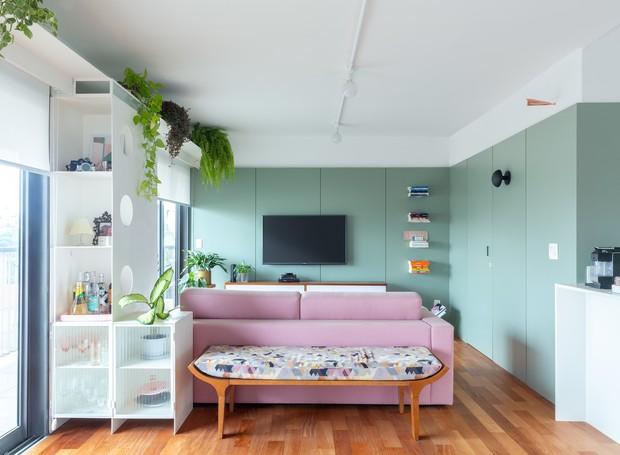 Resultado de imagem para decoração casa com verde e rosa