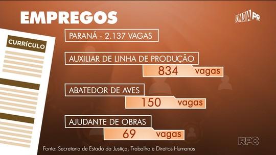 Paraná tem mais de duas mil vagas de emprego; confira as oportunidades nas Agências do Trabalhador