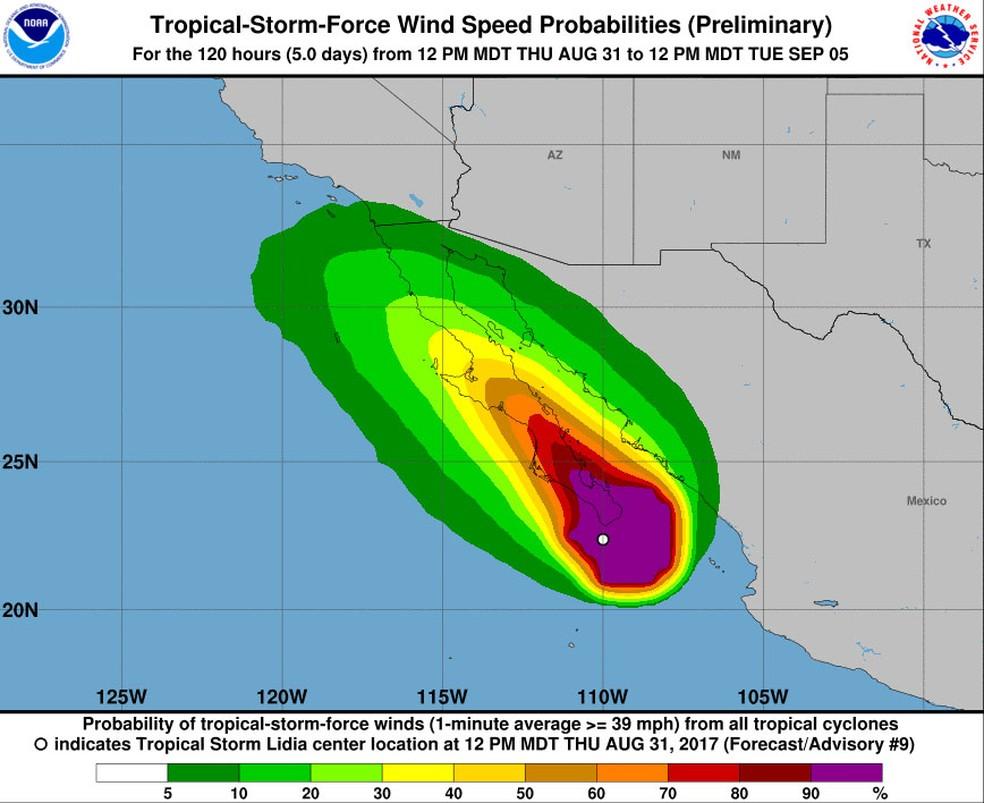 Projeção de velocidade dos ventos que deve atingir região por onde irá passar a tempestade tropical Lidia (Foto: Reprodução/NOAA)
