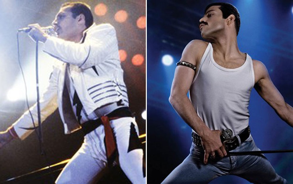 Freddie Mercury (à esquerda) é interpretado por Rami Malek (à direita) em 'Bohemian Rhapsody' — Foto: Divulgação