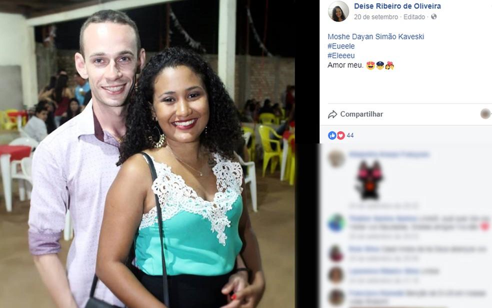 Moshe Dayan Simão Kaveski e Deise Ribeiro de Oliveira (Foto: Facebook/Reprodução)