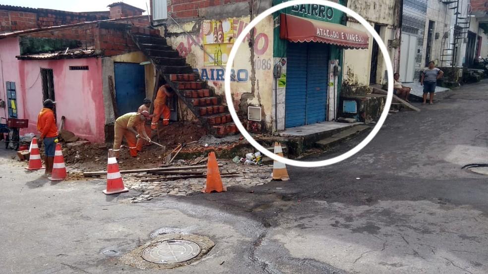 Local do desabamento em Fortaleza na madrugada desta sexta-feira (14). — Foto: Arquivo pessoal