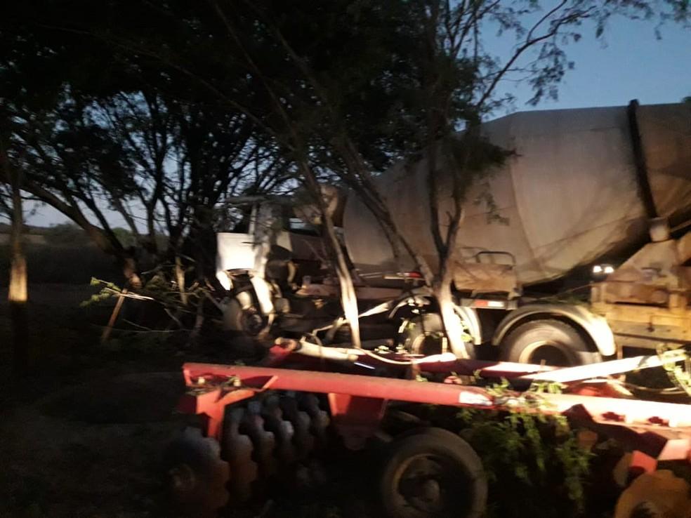 Após colisão, caminhão saiu da pista e bateu contra árvore — Foto: Corpo de Bombeiros/Divulgação