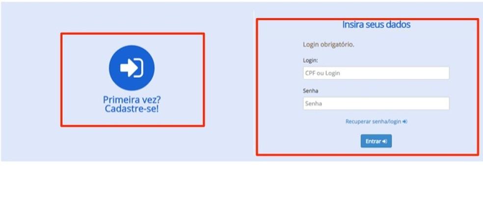 Tela de login e cadastro de usuário do site Consumidor.gov.br — Foto: Reprodução/Marvin Costa