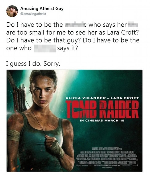 Uma crítica à atriz Alicia Vikander  (Foto: Twitter)