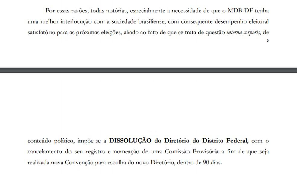 Trecho de pedido que pede a dissolução do diretório do MBD-DF — Foto: Reprodução