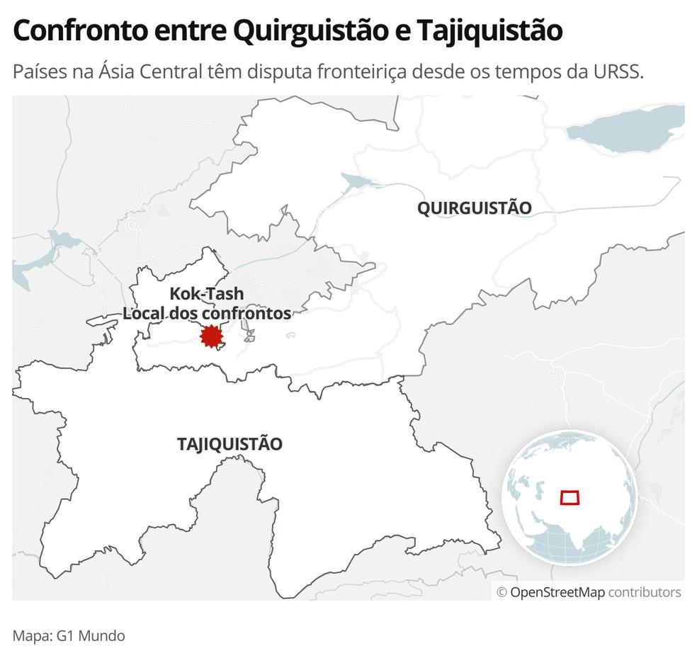 MAPA - Confronto entre Quirguistão e Tajiquistão — Foto: G1 Mundo