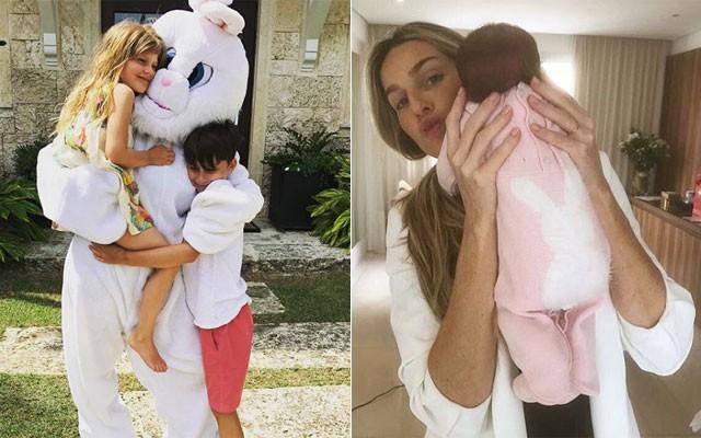 Os filhos de Gisele Bundchen abraçando o coelho da Páscoa e Mariana Weickert com sua estreante Teresa (Foto: Reprodução / Instagram)