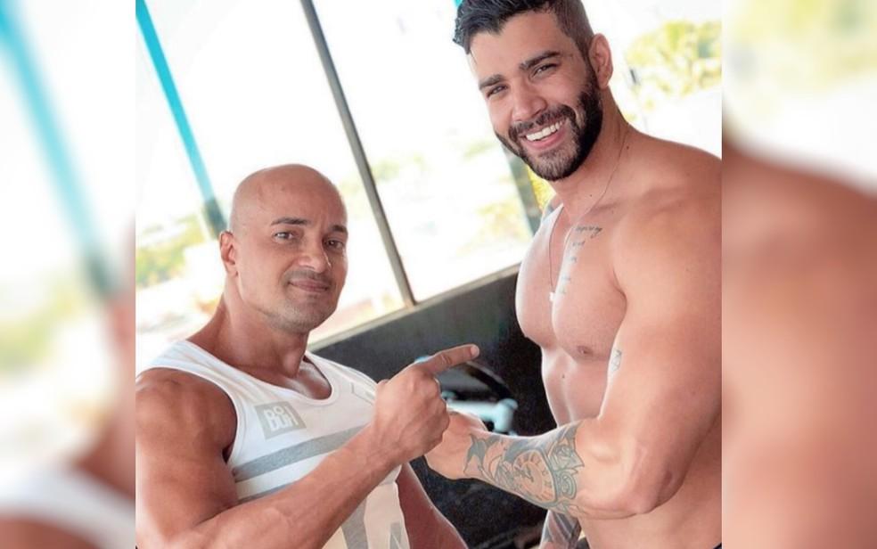 Marcão e Gusttavo Lima em foto tirada durante um treino — Foto: Reprodução/Instagram