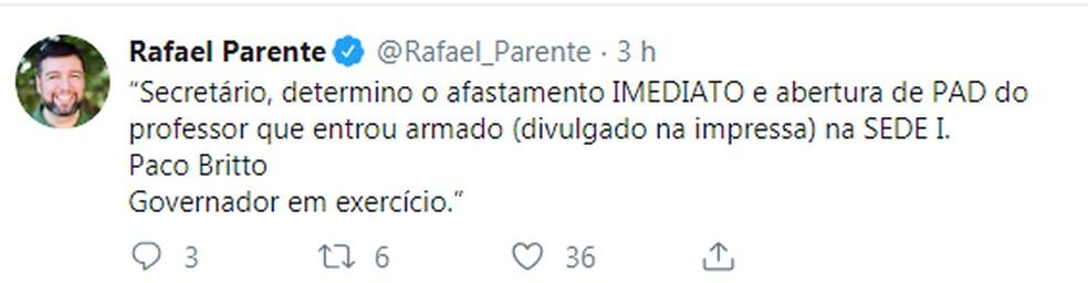 O secretário de Educação do DF, Rafael Parente, publicou determinação nas redes sociais — Foto: Twitter/Reprodução