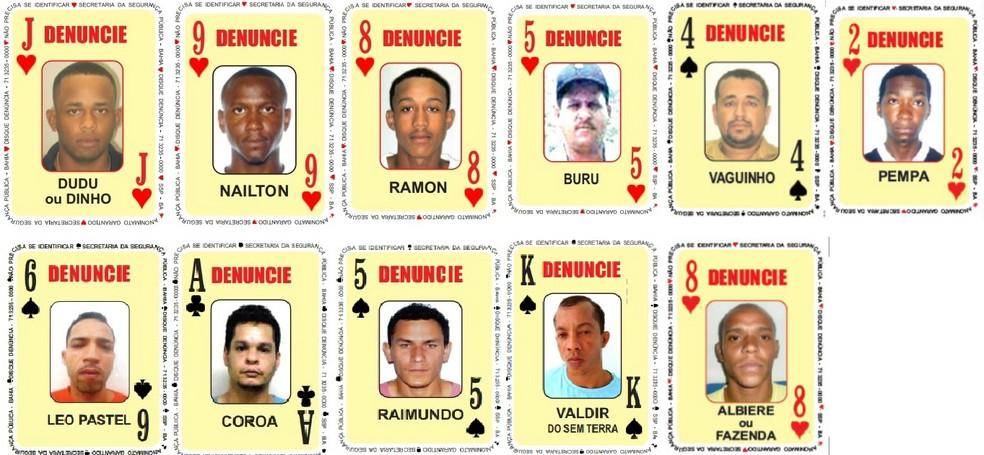 Onze procurados são adicionados ao Baralho do Crime — Foto: Divulgação/SSP