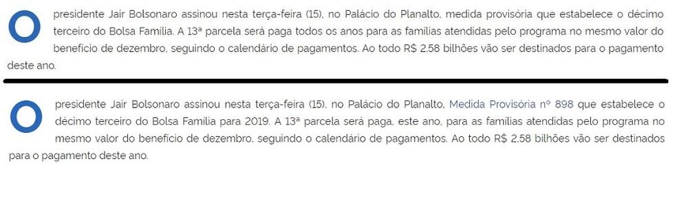Montagem com versão anterior e versão atualizada de texto publicado pelo governo sobre o Bolsa Família no site da Presidência  — Foto: Reprodução