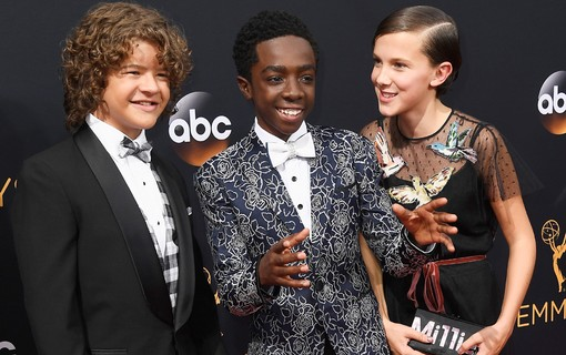 Gaten Matarazzo, Caleb McLaughlin e Millie Bobby Brown, de 'Stranger Things'