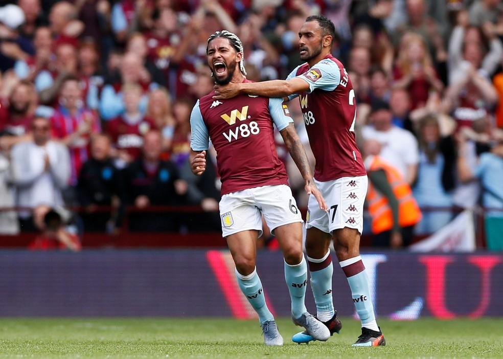 Douglas Luiz comemora gol pelo Aston Villa — Foto: Reuters