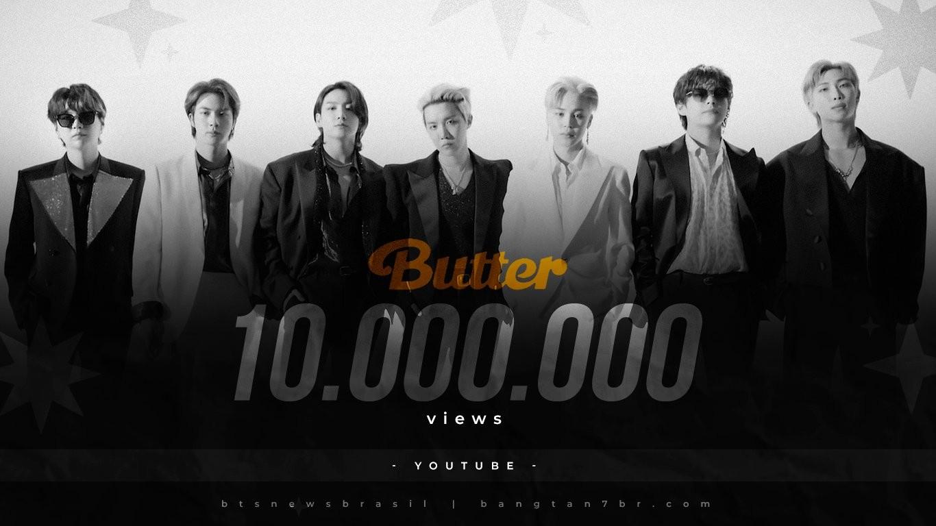 Videoclipe de Butter, do BTS, bate 10 milhões de visualizações em apenas 13 minutos (Foto: Reprodução/Twitter)