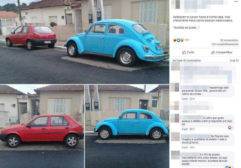 Carros foram contornados por pavimentação em Itapetininga (SP) — Foto: Reprodução/Facebook