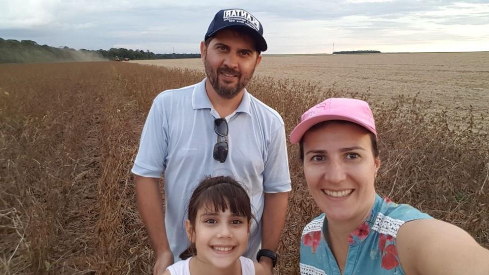 Marcos Ioris e família cultivam soja em uma área de 3 mil hectares, em Nova Mutum (MT) (Foto: Marcos Ioris/ Arquivo pessoal)