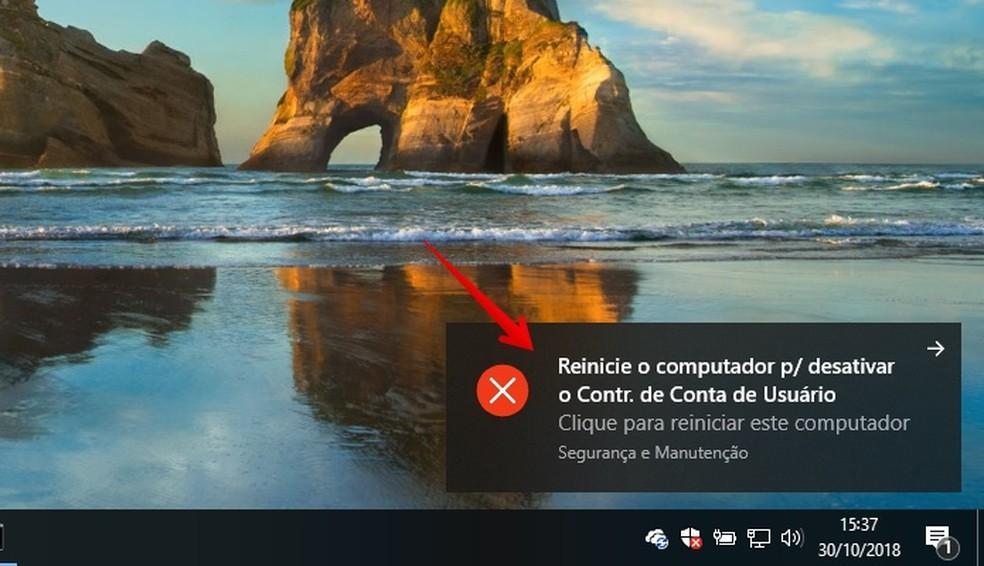 Alerta informa sobre necessidade de reiniciar o PC — Foto: Reprodução/Helito Beggiora