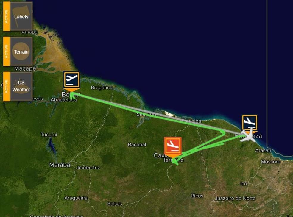 -  Um dos voos vinha de Belém e precisou ser alternado para Teresina.  Foto: Reprodução/Flight Stats