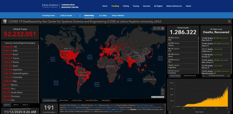 Mapa com levantamento da Universidade Johns Hopkins no dia 12 de novembro de 2020 — Foto: Reprodução/Johns Hopkins