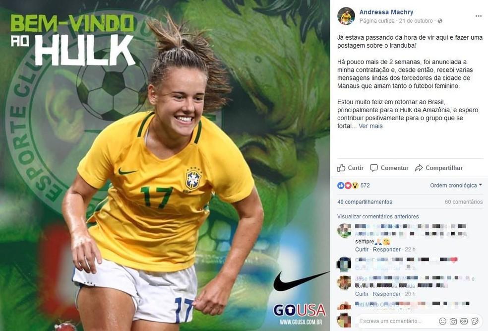 Andressinha postou mensagem nas redes sociais agradecendo o carinho dos torcedores do Iranduba (Foto: Reprodução)